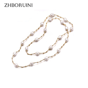 Image 1 - ZHBORUINI High Quality Fashion Long Pearl Necklace Baroque Natural Freshwater Pearl Pearl Jewelry For Women Necklace Accessories