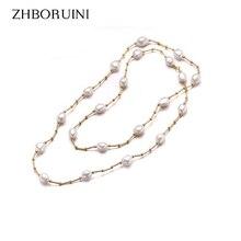 ZHBORUINI haute qualité mode Long collier de perles Baroque naturel perle deau douce bijoux pour femmes collier accessoires