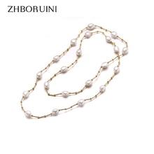 ZHBORUINI גבוהה באיכות אופנה ארוך שרשרת פניני הבארוק טבעי מים מתוקים פרל פרל תכשיטי נשים שרשרת אביזרים