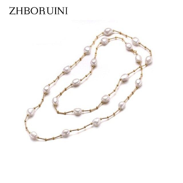 Zhboruini جودة عالية أزياء طويلة اللؤلؤ الباروك لؤلؤ المياه العذبة الطبيعية اللؤلؤ والمجوهرات للنساء قلادة اكسسوارات