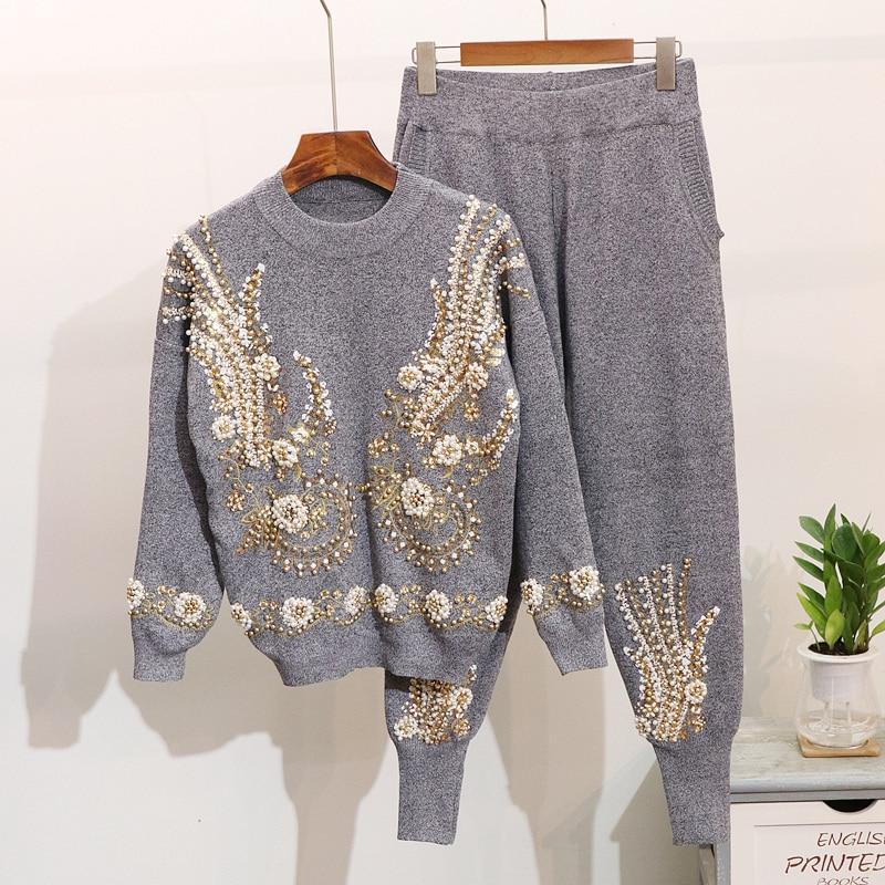 Broderie Longues 2018 De Harlan Tricot gris Noir Manches Pantalon Automne Chandail Hiver Perles Pièces Deux À Nouveau Paillettes Costume Femmes rIv0Orq
