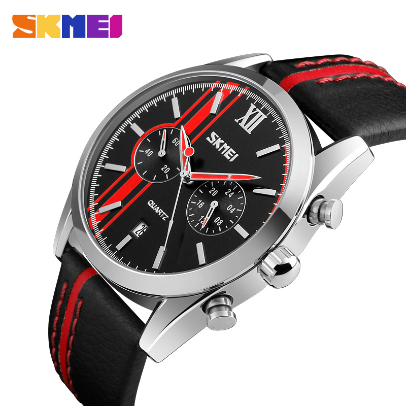 SKMEI New Quartz Watch Men Leather Strap 2017 Top Brand Luxury Multi Function Military Wristwatch Stopwatch Sports Watches 9148