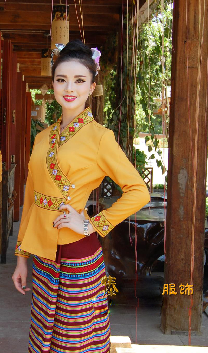 South East Asia Thailand Laos YunNan Hotel uniform Orange yellow long sleeve Top skirt collocation suits men women Special wear 39