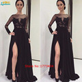 2017 Sexy Negro Ver Througth Vestidos de Noche de Alta Raja Del Lado de Manga larga de Encaje Apliques vestido de Fiesta Formal Vestido de Encargo noche