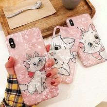 HERONSWING Cute Cat Pink Marie Conch Shell Phone Case For iphone 7 XS MAX XR X 6 6s 8 Plus Marble Texture Soft Glossy Cover