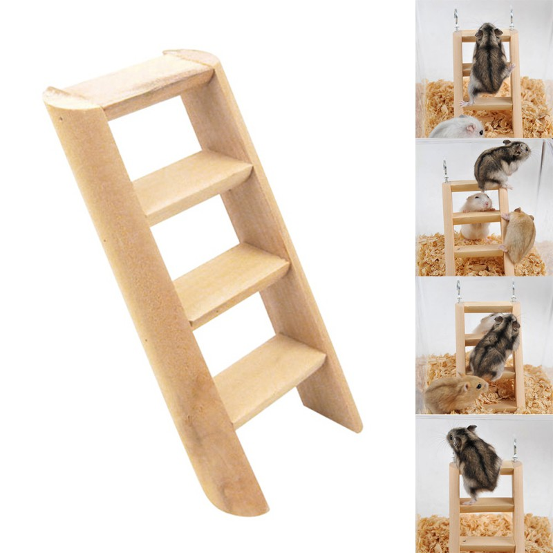 Hamster Ladder Stand Wooden Climbing Toy Solid Playing Accessories Products For Hamster Squirrel Guinea Pig