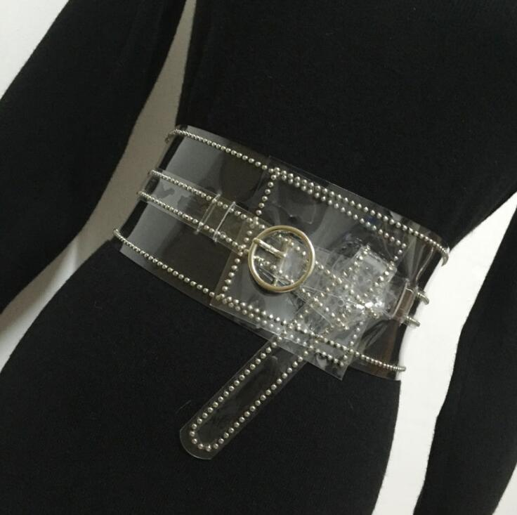 Women's Runway Fashion PVC Rivet Transparent Cummerbunds Female Dress Corsets Waistband Belts Decoration Wide Belt R1545