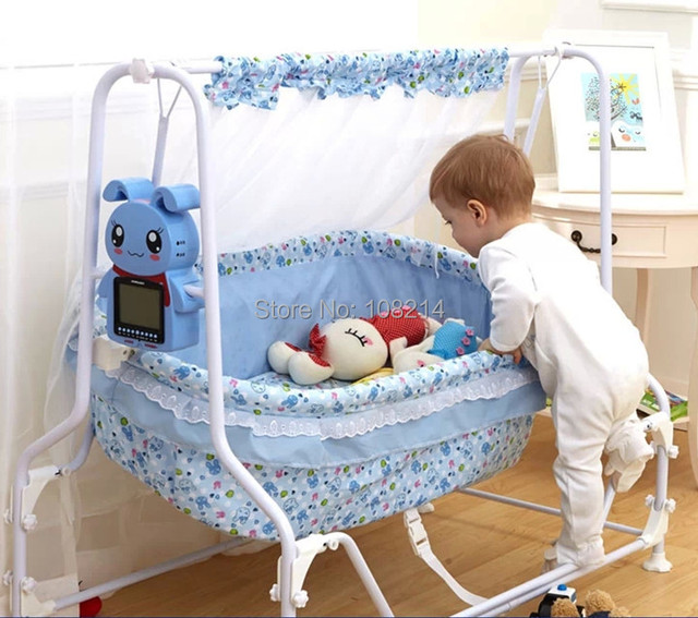 2015 New Electric Swing Crib Swing Automatic Swing Baby Crib Electric Controller Baby Sleeping Basket for Baby 0-25KG Pink/Blue