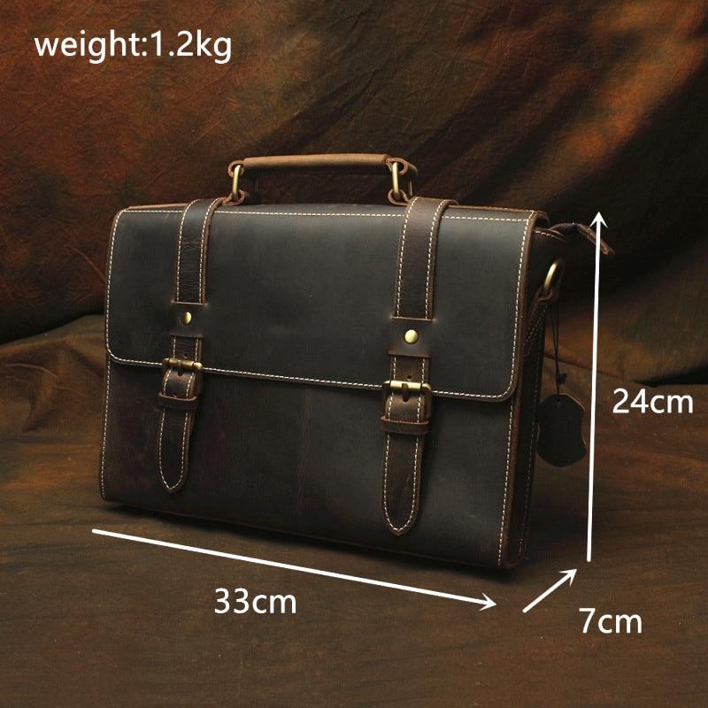 Horse Echtes Leder Geschäftsleute Schulter Männlichen Crazy Laptop Vintage Taschen Aktentasche Brown tasche Tasche Lapoe Totes Männer Handtaschen qxIRtpwqFf
