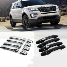 Fit For Ford Explorer Sport 2016 2017 New ABS Chrome Car Door Handle Covers Trim Auto Accessories with Smart Holes 8pcs