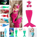 Handmade Crochet Knitted Baby Mermaid Tail Cocoon Costume Set with Flower Headband Shells For Photo Props SG051