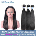 8A Peruvian Straight With Closure Cheap 360 Lace Frontal With Hair Bundles Human Hair With Frontal Straight Hair With 360Frontal