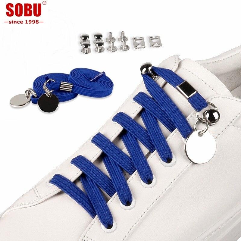 SOBU New 17 Colors No Tie Shoelaces Elastic Buckle Trendy Quick Lock Shoe Lacing System Shoestrings T110