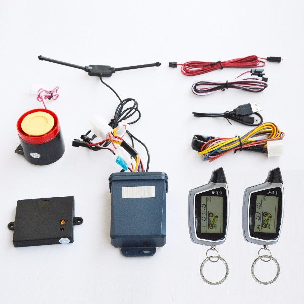 Высокое качество Оригинальный SPY двухстороннее Anti-theft Мотоцикл сигнализации с 2 аккумуляторные ЖК-дисплей передатчики удаленного запуска д...