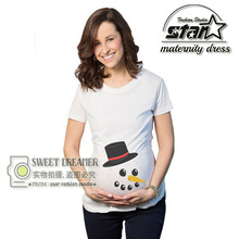 Summer Cute Maternity Shirts Pregnant Women Tops Tees Clothes Premama Wear Clothing Pregnancy Snowman T Shirt