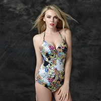 Foclassy High Cut Swimsuit Print Halter Swimwear Cut Out Swimsuit Vintage Bathing Suit Sexy