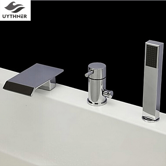 Newly Deck Mount 3pcs Bathtub Faucet W Handheld Shower Head Shower
