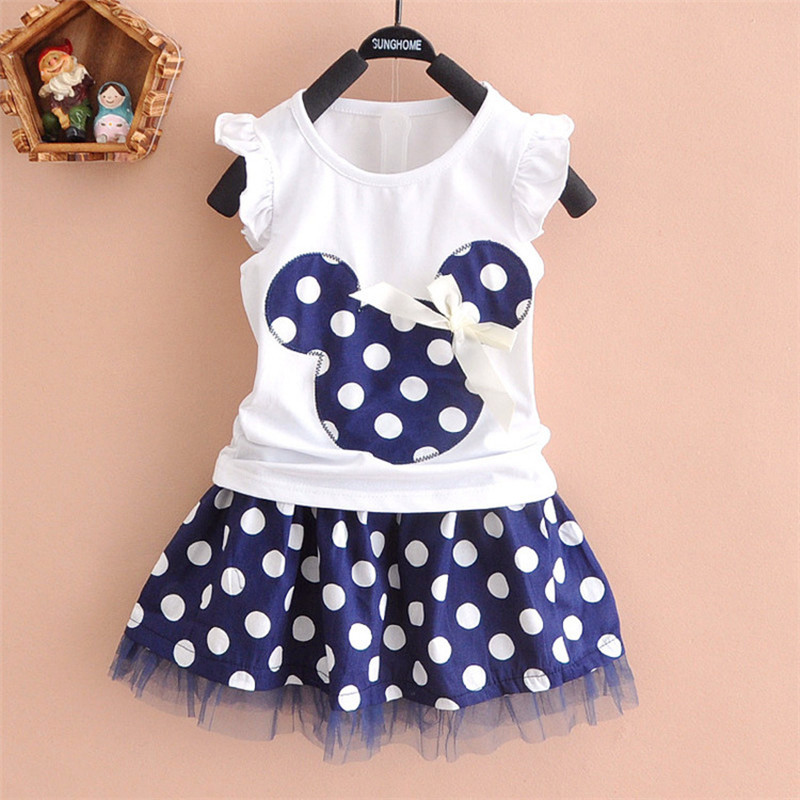 2017 new t shirt +Skirt baby kids suits 2 pcs fashion girls clothing sets minnie children clothes bow tops suit Dresses 2-7T