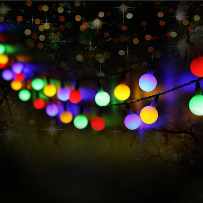 Solar Powered Led Outdoor String Lights 50LEDs Ball Globe Fairy Strip Lights for Outside Garden Patio Party Christmas