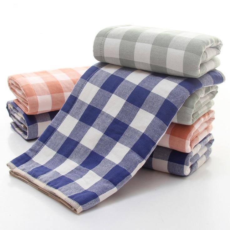 Bath Towels Lots: 2Pcs/Lot High Quality Plaid Bath Face Towel Set 34x74cm