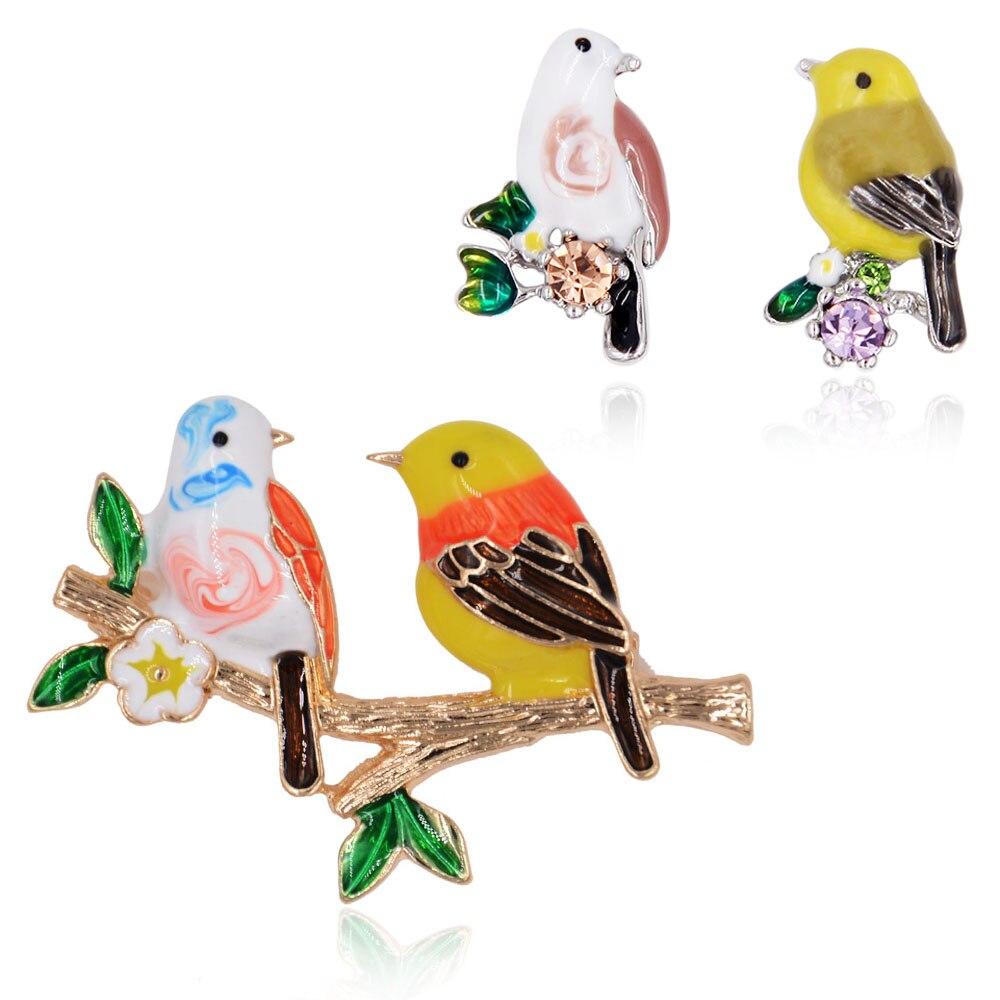 Adorable Enamel Jewelry Sets Bird Brooch Metal Branch Tree Leaves Stud Earrings Women Fashion Accessory
