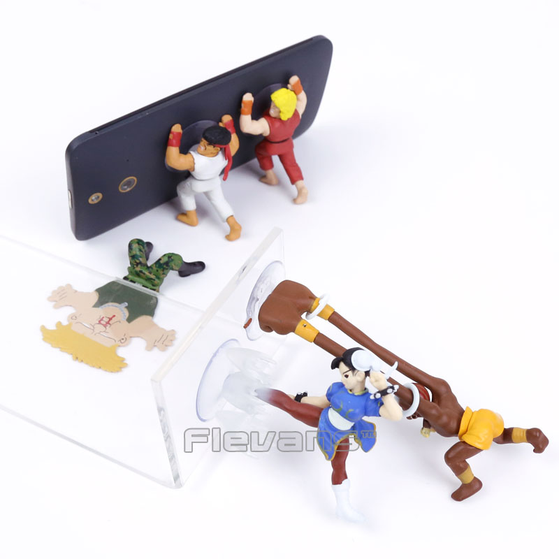 Street Fighter Ryu Guile Ken Chun Li Dhaisim Funny Phone Holder Mini PVC Figures Collectible Model Toys 5pcs/set 10cm wang chun 9x3 5 5