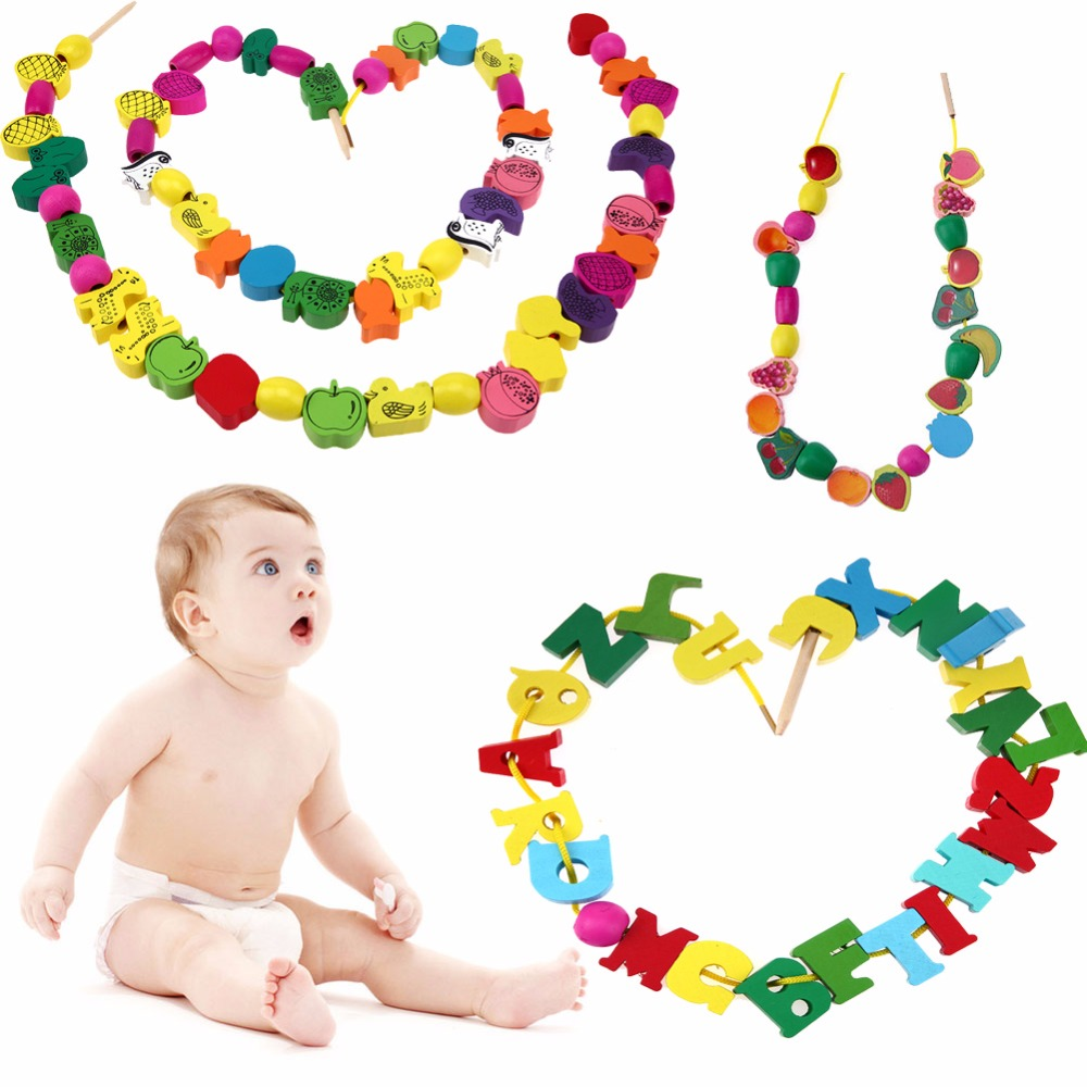 Cartoon Fruit Animal Letter Pattern Stringing Threading Beads Wooden Toys For Kids Intelligence Leading Development DIY Hand Toy tri fidget hand spinner triangle metal finger focus toy adhd autism kids adult toys finger spinner toys gags