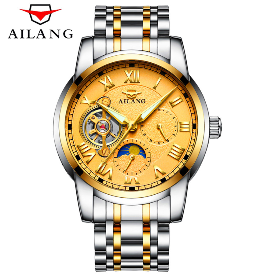 AILANG Business Mechanical Watches Men Tourbillon Automatic Watch Men Gold Steel Waterproof Moon phase Wristwatch Relojes Hombre ailang tourbillon automatic mechanical watch men s waterproof 50m army sport watches men full steel luminous clock reloj hombre