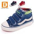 Pantalones vaqueros de marca niños shoes 2017 nueva otoño de retazos de lona gancho lazo de goma kids shoes tela azul marino rojo muchachos de las muchachas zapatillas de deporte