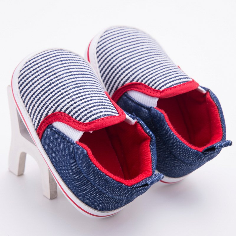 0-12M Infant Toddler Soft Bottom Baby Boys Girls Crib Shoes Dark Blue Striped Pattern First Walkers Baby Shoes