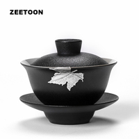 100cc Black Zen Boutique Handmade Inlaid Tin Maple Leaf Coarse Pottery Gaiwan Kung Fu Tea Set Teapot Master Cup Tea Bowl Tureen