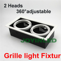 Factory top sale 24W double heads LED Grille Light fixture 360 adjustable AR111 commercial COB Grille Lamp holders