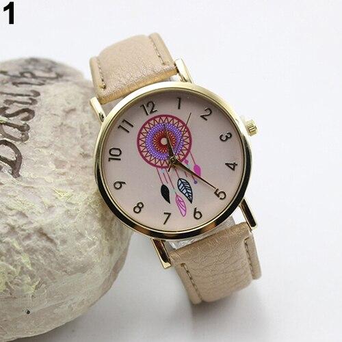 Women Chic Dream Catcher Print Round Dial Quartz Faux Leather Band Wrist Watch