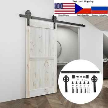 4.9FT/6FT/6.6FT/8FT Black Carbon steel Big hanger roller interior sliding barn door hardware - DISCOUNT ITEM  14 OFF Home Improvement