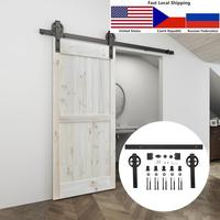 4.9FT/6FT/6.6FT Black Carbon steel Big hanger roller interior sliding barn door hardware