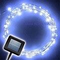 10 UNIDS Energía Solar 10 m Alambre de Cobre 100 LED Energía Hadas de la Secuencia Solar Luz de Navidad Del Banquete de Boda Decoración de La Lámpara