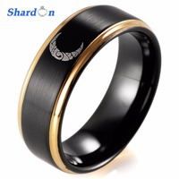 SHARDON engagement Rings IP black plated Men's Tungsten ring with gold step Trendy Wedding band Engagement ring laser moon
