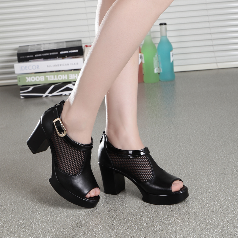 ZZPOHE 2017 Summer shoes new fashion Women large size fish sandals thick woman breathable black work sandals Woman sexy sandals