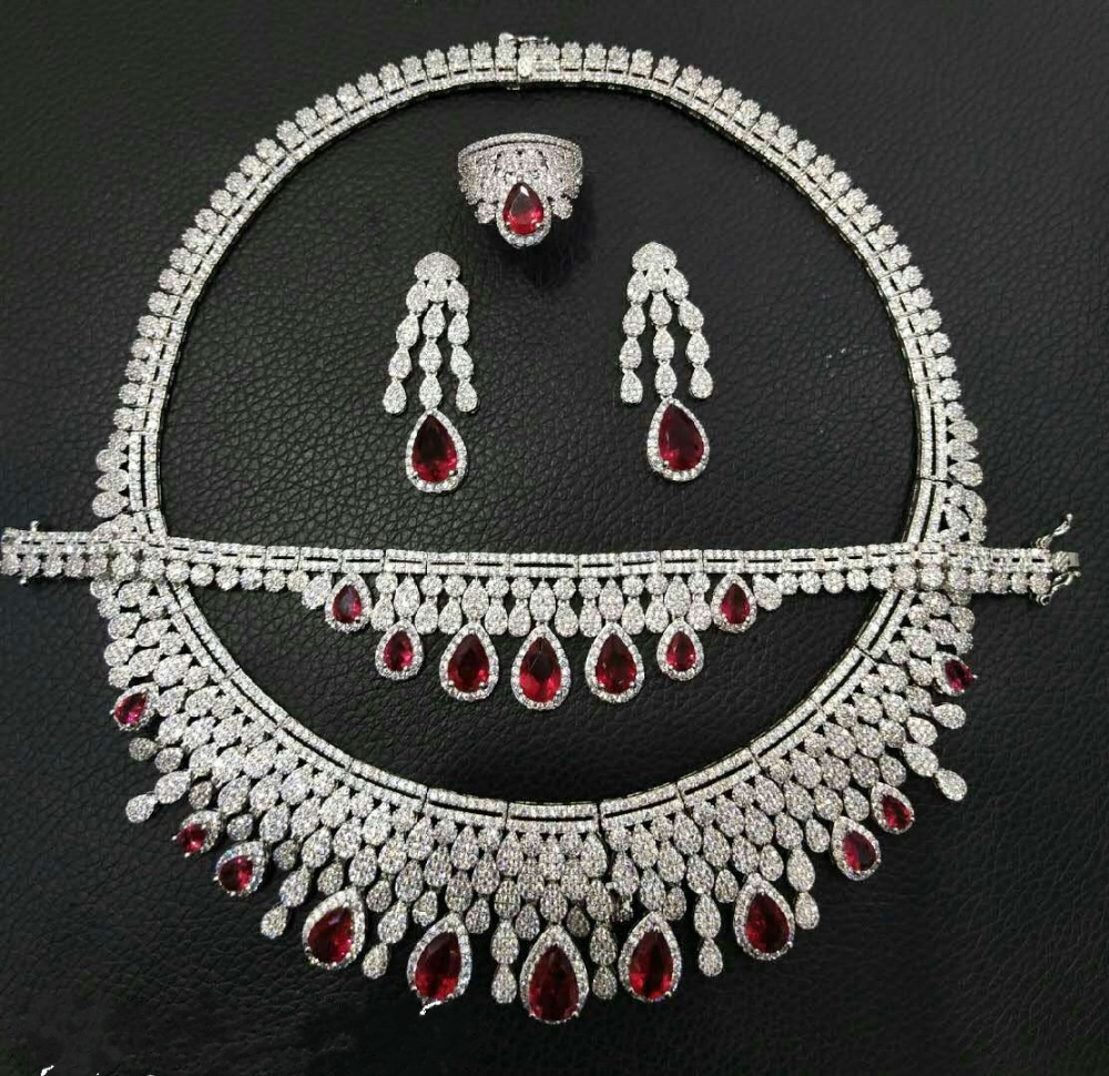 Brautschmuck Sets Janekelly Luxus Zirkonia Halskette Armband Ohrringe Und Ring 4 Stücke Dubai Voller Schmuck-set Für Frauen Braut Kleid Abendessen Dauerhafter Service