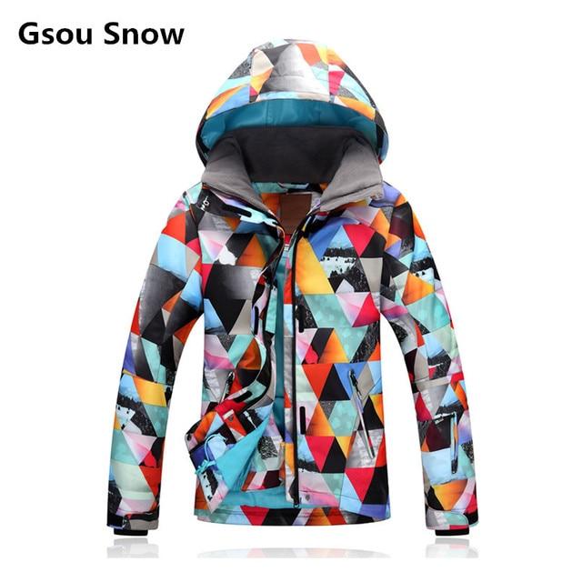 d811a3aa0f371 2018 GSOU SNOW Теплая зимняя женская горнолыжная куртка,водонепроницаемая,  ветрозащитная,красивая горнолыжный костюм