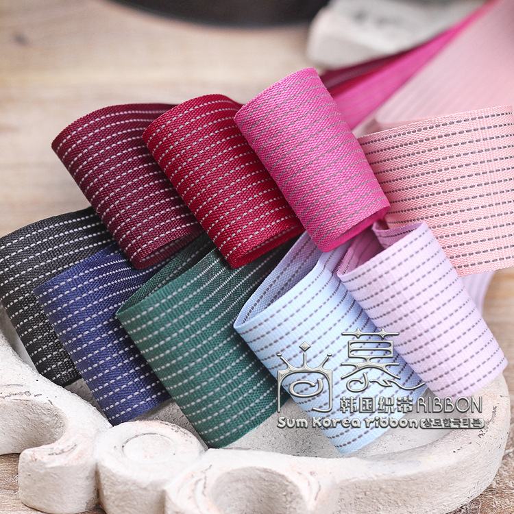 100yards 10 16 20 25 38mm polyester ribbon stitched stripes korean for wedding decoration hair bow accessories decorative