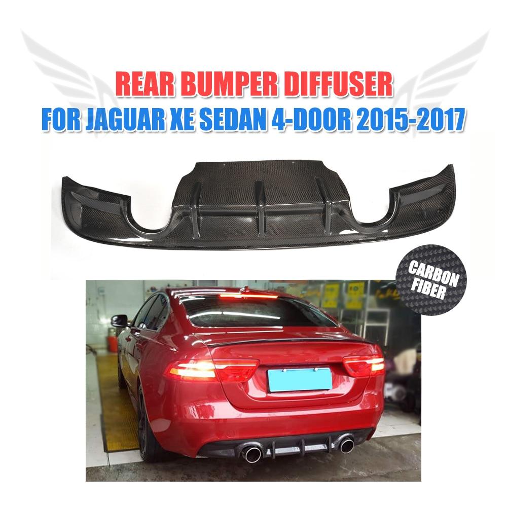 In Fibra di carbonio Paraurti Posteriore Diffusore Mento Lip Spoiler per Jaguar XE Sedan 4 Porte 2015-2017 tubo di Scarico Doppio una Presa di