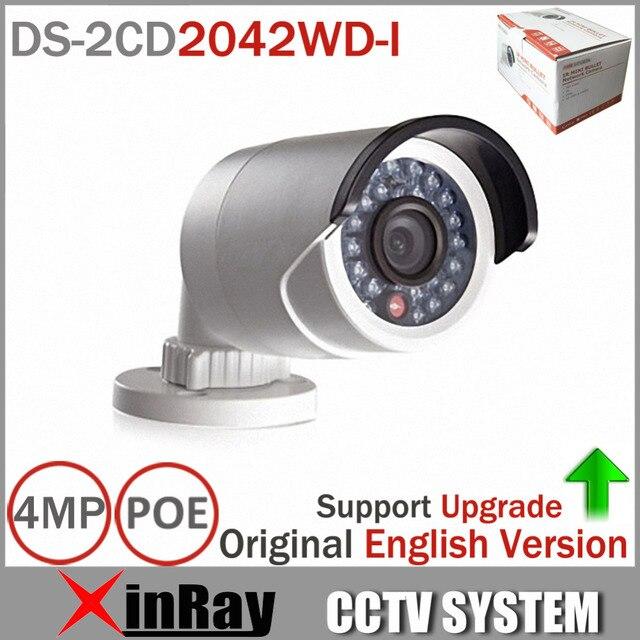 Original DS-2CD2042WD-I Full HD 4MP Alta Resoultion 120db WDR POE del IP del IR Red Bullet Cámara CCTV Versión Inglés