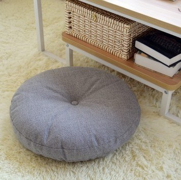 Round Shape Cotton Linen Seat Cushion