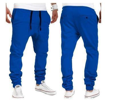 2020 Brand mens Casual Tethered elastic waist trousers Solid color Beam foot pants hip hop Pencil pants male Sweatpants 6 colors 21