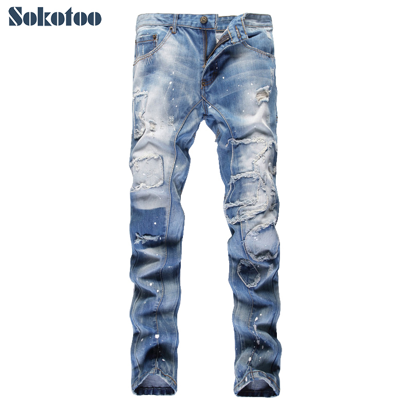 Sokotoo Mens fashion holes ripped beggar pants Casual patch painted patchwork slim straight denim jeans Long trousers