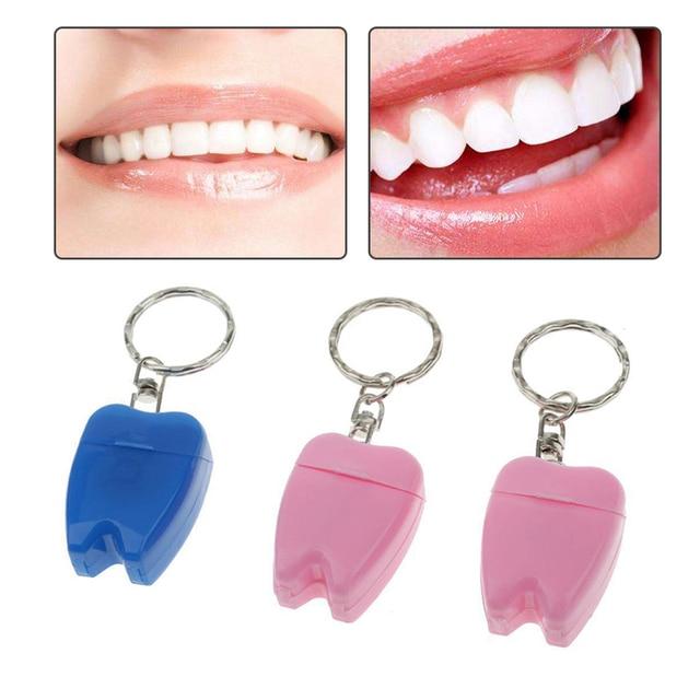 2b7b6757f Portátil Mini 1 pcs 15 M Fio Dental Palito Flosser + Titular Dentes-Chave Em