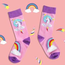 Winter Cotton Socks Women Japanese Harajuku design Unicorn space art socks Cute funny cozy short calcetines pink