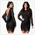 2016 outono preto vestido de crochê floral backless cocktail party dress lace manga comprida formal do vintage das mulheres vestidos de inverno