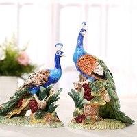 Керамическая Lucky Павлин Любители Статуя Home Decor ремесел украшения комнаты свадебные ремесленных орнамент фарфоровые фигурки животных